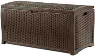 Suncast 73-Gallon Medium Deck Box - Lightweight Resin Indoor/Outdoor Storage Container and Seat for Patio Cushions, Gardening Tools and Toys - Store Items on Patio, Garage, Yard - Mocha Brown