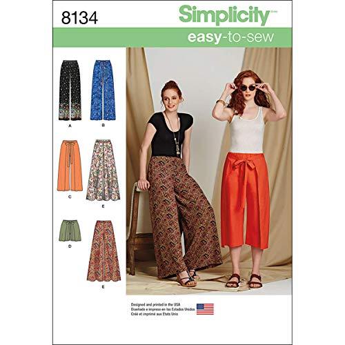 Simplicity Muster 8134–Misses 'Easy-to-sew Hosen und Shorts Schnittmuster, weiß, Größe R5