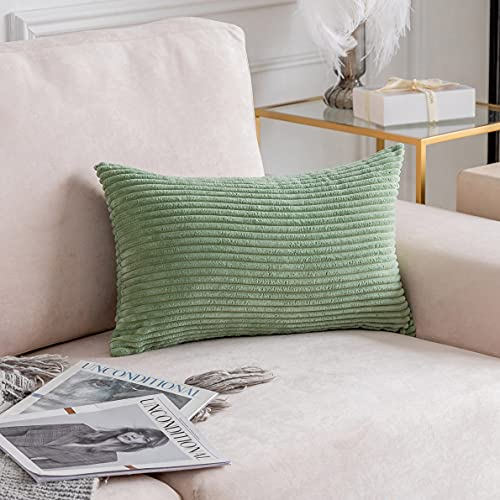 Home Brilliant Decorate Pillow Cushion Cover Super Soft Corduroy Striped Solid Rectangle Throw Pillowcase for Office Sofa, 12x20 inches(30x50 cm), Sage Green