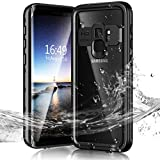 Janazan Samsung Galaxy S9 Waterproof Case, Full Sealed Underwater Protective Cover, Waterproof Shockproof Snowproof Dirtproof for Outdoor Sports (Black)
