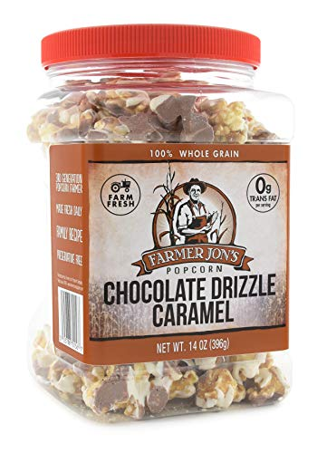Buy Discount Farmer Jon's Chocolate Drizzled Caramel Popcorn, 16oz Jar of Gourmet Popped Popcorn