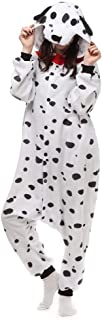Dalmatian Onesie Pajamas Animal Spot Dog Halloween Cosplay Costume for Adult