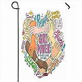 Banderas de jardín al aire libre 12.5 'x 18' Pulgada Social Feminista Feminismo Chica Poder Dibujado a mano Empoderar Lucha Apoyo Artístico Diseño asiático Idea Vertical Doble cara Inicio Decorativo C