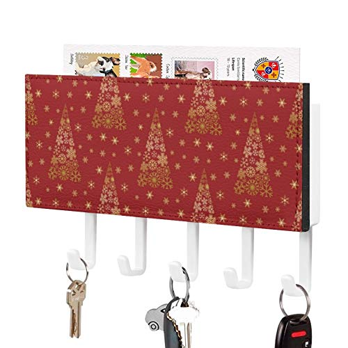 Wall Mounted Mail Holder Key Holder Organizer,Poinsettia Floral Christmas Pattern Wall Decorative Key Rack Hangers for Entryway, Storage, Living Room, Hallway, Office