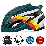 KINGBIKE 自転車 ヘルメット 大人用 ロードバイク サイクリング ヘルメット 超軽量 高剛性 LEDライト・ヘルメットレインカバー付き 男女兼用 (M/L(56-60CM), ダークグリーン-1)