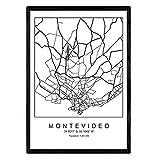 Nacnic Druck Montevideo Stadtplan nordischer Stil schwarz