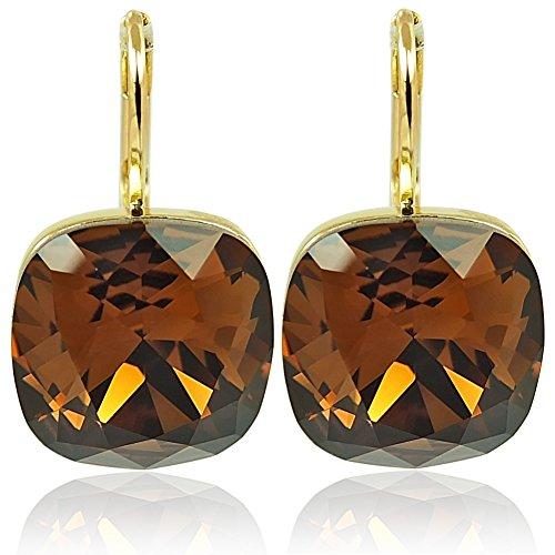 Ohrringe mit Kristallen von Swarovski® Gold Braun NOBEL SCHMUCK