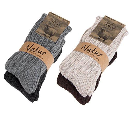 Brubaker 4 Paar Kaschmir-Socken für Damen & Herren - Warme Grobstrick Freizeitsocken in hoher Qualität 48prozent Schafwolle & 40prozent Cashmere Anteil - Größe 39-42 - Mehrfarbig