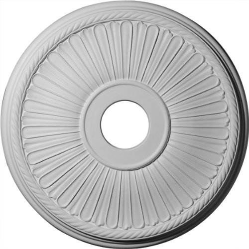 "Ekena Millwork CM20BE1 Berkshire Ceiling Medallion, 20 1/8""OD x 3 7/8""ID x 1 7/8""P (Fits Canopies up to 6 3/8""), Factory Primed"