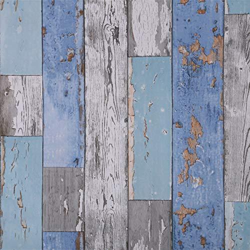 Art3d 17.7'x78.7' Peel and Stick Wallpaper - Decorative Self Adhesive Vinyl Film Wood Grain Wallpaper for Furniture Cabinet Countertop Shelf Paper, Blue Distressed Wood