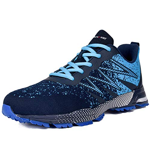 [JACKS HIBO] ランニングシューズ スニーカー メンズ 運動靴 軽量 通気 靴 メンズ ウォーキングシューズ カジュアル スポーツシューズ 通勤 日常着用 ブルー 26.5cm