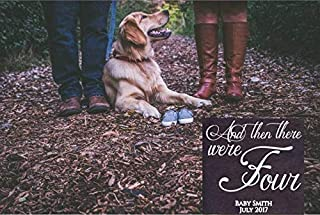 and Then There were Four Personalized Last Name and Due Date Pregnancy Announcement Sign Photo Prop Dog Sibling Puppy Sibling Options Wooden Sign Funny Wall Decor