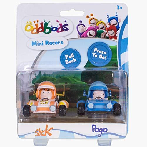 Oddbods Mini Racers Pogo & Slick - Kids Figurine Toy Cars for Boys and Girls, Set