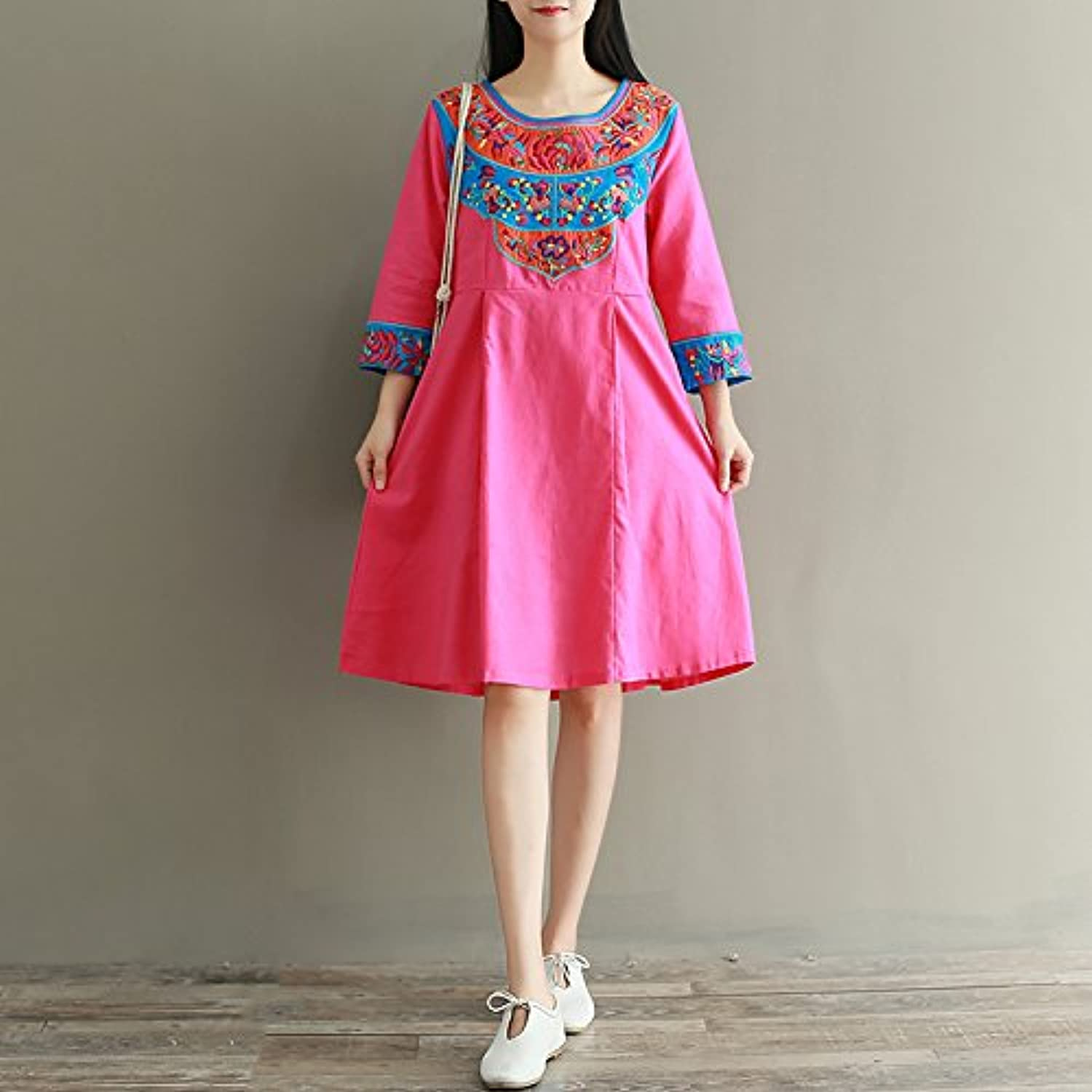 XIURONG Spring Loose Cotton Long Sleeved Dress Embroidery