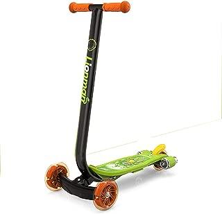 LJJYN Children Scooter PU Flash Wheel One-Piece Welded T-bar Handle Rear Brake Rocket Scooter