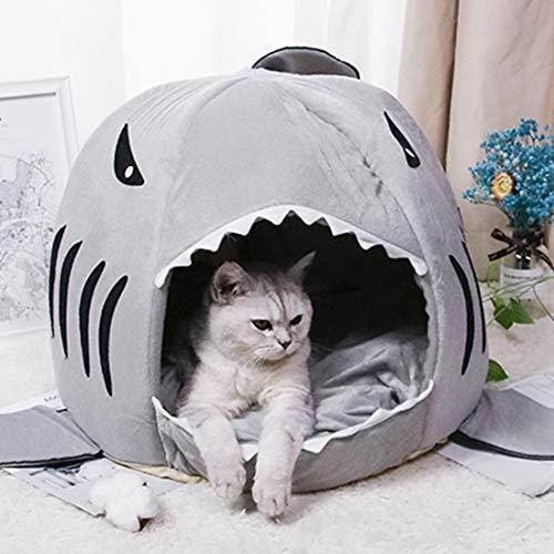 LONTG Cat Cave Bed Cute Shark Pet Cat Dog Bed Novelty Puppy Pet Nest Tent House Indoor Sleeping Bag For Small Dogs Kitten Bunny Hamster Waterproof Non Slip Bottom