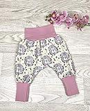 Pumphose Jersey haremshose Gr. 56-110, hose mädchen rosa Hase, Babyhose, Kinderhose