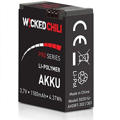 Wicked Chili Akku für GoPro Hero 3+ / Hero 3 - Black/White/Silver Edition [ersetzt AHDBT-302 / AHDBT-301] (ProSeries, 1180mA, 3,7Volt, 4,37Wh, je Akku bis zu 118 Minuten Videoaufnahme), 1x GoPro 3+/3 Akku
