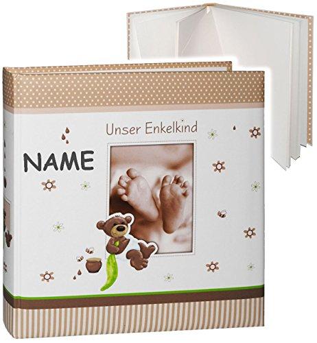 alles-meine.de GmbH großes Fotoalbum -  Unser Enkelkind  - incl. Name __ süßer Teddybär & Babyfüße __ Album - Gebunden zum Einkleben & Eintragen - blanko weiß - groß 60 Seiten ..