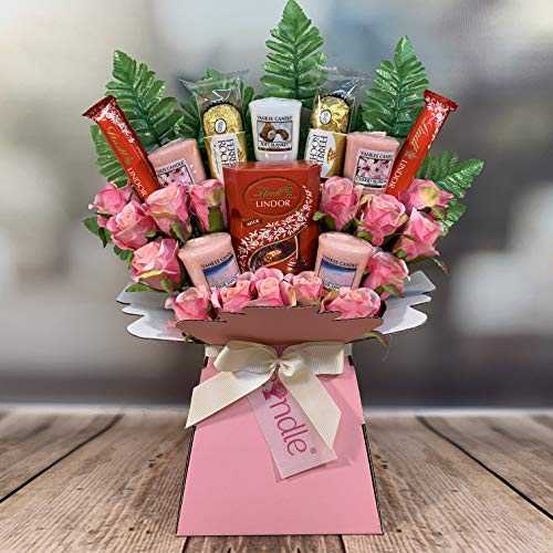 Large Yankee Candle Selection Bouquet Gift Hamper with Chocolates & Silk Pink Roses in Presentation Box (Ferrero Rocher & Lindt Lindor)