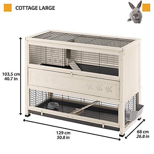 Ferplast Kaninchenstall Cottage Large, Indoor-Nagerstall aus Holz, Maße: 129 x 68 x 103,5 cm - 2