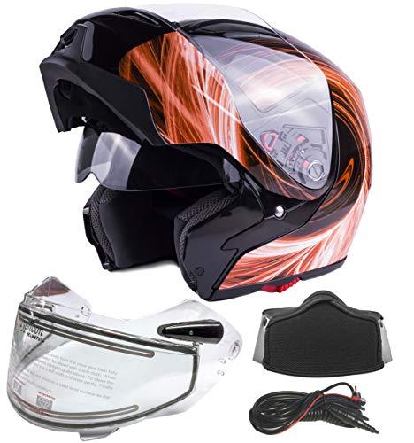 Typhoon G339 Dual Visor Modular Full Face Snowmobile Helmet With Heated Shield, Breath Box (Orange, XL)