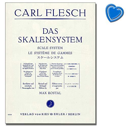 Carl Fleisch - Das Skalensystem - Tonleiterübungen durch alle Dur- und Molltonarten - Etüden für Violine - mit bunter herzförmiger Notenklammer
