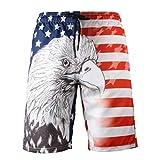 Kariwell Men's Summer America Eagle Pattern Beach Shorts Fashion 3D Printed Shorts Recreational Sports Beach Pants for Outdoor Activity Kari-150