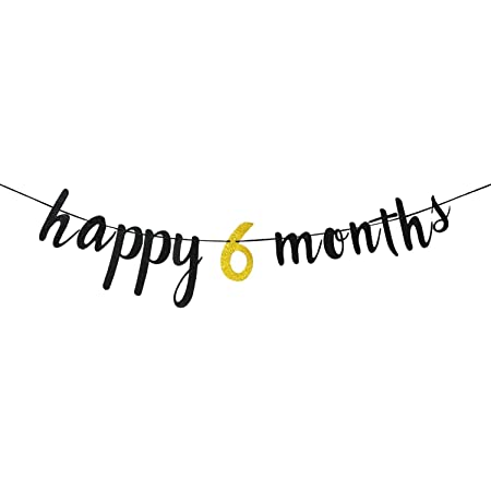 FESTIKO Happy 6 Months Birthday Decoration Banner / Happy Half Birthday Party Decoration 1/2 Birthday Decoration for 6 Months Birthday Decoration