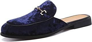 Leoed Men's Mule Slippers Slip-On Loafers Suede Dress Shoes Velvet Backless Sandals Size 6.5-12.5