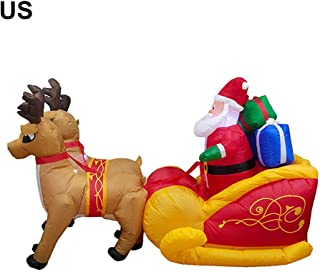 Macddy Christmas Inflatable Santa Claus on Sleigh with 2 Reindeers Lighted Outdoor Yard Decoration Garden Ornaments hot Sale