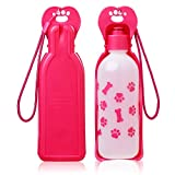 Anpetbest Dispenser d'Acqua per Cani distributore acqua 11 oz(325ML), cane acqua portabile animale domestico Travel Water Bottle Bowl bottiglia (rosa)