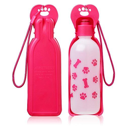 Anpetbest Dispenser d\'Acqua per Cani distributore acqua 11 oz(325ML), cane acqua portabile animale domestico Travel Water Bottle Bowl bottiglia (rosa)