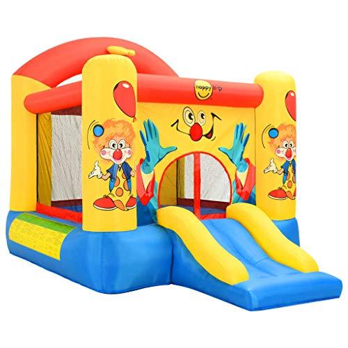 Festnight- Happy Hop Hüpfburg mit Rutsche, Spielburg Basketballkorb Spielhaus aufblasbar, Max: 113 kg (3 Kinder) Bunt 330x230x230 cm