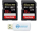 SanDisk 32GB (Two Pack) Extreme Pro Memory Card works with Nikon D3400, D3300, D750, D5500, D5300, D500, AW130, W100, L840 Digital DSLR Camera SDHC 4K V30 UHS-I with Everything But Stromboli Reader