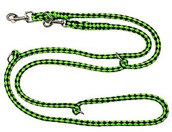 Elropet Laisse double réglable sur 4 positions Noir/vert fluo 2,80m