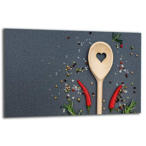 TMK | Placa de 80 x 52 cm 1 pieza para cubrir la vitrocerámica de inducción protección contra salpicaduras placa de cristal decorativa tabla de cortar cocina