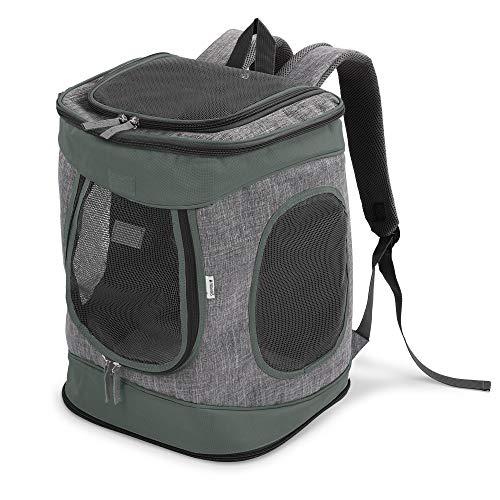 Navaris Rucksack für Hund Katze gepolstert - Hunderucksack Katzenrucksack - 33x28x43cm Haustier Backpack faltbar - Traglast bis 15kg - Grau