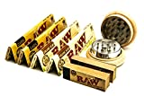 55 mm 2 Part Wooden Herb Grinder with Zinc Alloy Teeth and Magnetic Closure |4 Raw Kingsize Rolling Papers | 2 Booklets Raw Rolling Tips