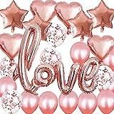 SHONCO Rosegold Love Luftballon,Luftballons Rosegold Set für Verwendet für Geburtstag Hochzeitstag und Verlobung romantische Dekoration