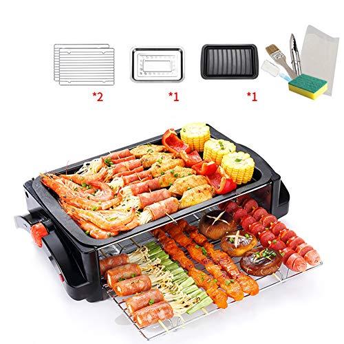 Raclette Grill   2 Etagen Electric GrillPlate with Mini-Pfannen/Thermal-Radfahren Rauchfreies Barbecue für den Haushalt Intelligente thermostatische Wärmeregulierung 260 ° C Antihaft-Kochfläche  