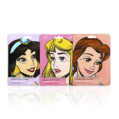 Mad Beauty PAMMB002 Mascarilla Facial con Licencia Disney Princesas, 3 unidades