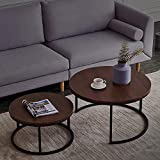2 Pieces Coffee Table for Living Room, Walnut Laminate Tabletop & Metal Legs Cocktail Table Can Be Stacked Together