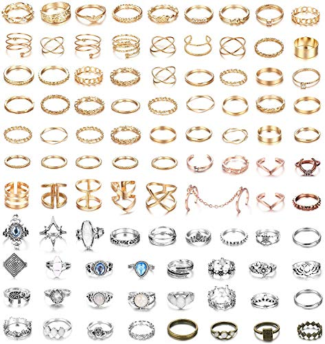 Milacolato 95PCS Ringe Set Knöchelringe Stapelbare Ring Boho Vintage Midi Gelenk Nagel Fingerringe Ringe Set Gold/Silber Damen