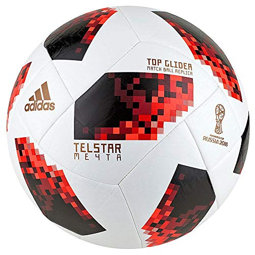adidas Unisex Telstar FIFA World Cup 2018 Argentina Soccer Ball, Adult, White/Red, 5