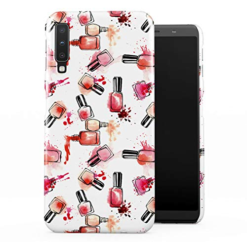 DODOX Spilled Red & Pink Nail Varnish Pattern Case Compatible with Samsung Galaxy A7 2018 Snap-On Hard Plastic Protective Shell Cover