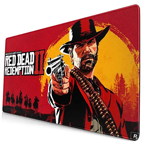 Large Gaming Mouse Pad Red Dead Red-EMP_Tion 2 Mousepad Non-Slip Rubber Printed Mousepad Rectangle Mouse Pads for Computers Laptop 30x15.7 Inch(75x40cm)-Color-16, One Size