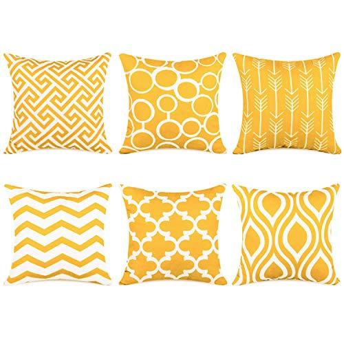 Topfinel 6er Set Kissenbezüge 50x50 cm Qualitäts Kissenhüllen in Segeltuch mit Geometrischen Mustern für Sofa Auto Terrasse Zierkissenbezüge Pfeil Dunkelgelb und Weiß