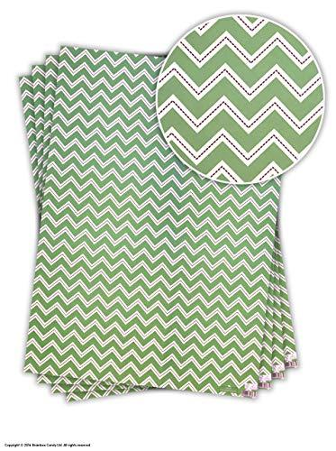 Pretty Green 'Zig-Zag' Design Geschenkverpakking/inpakpapier 4 Sheets Groen