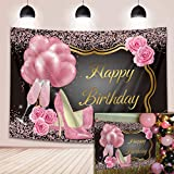BINQOO 7 x 5 pies con purpurina rosa con tacones de cumpleaños brillantes rosas de tacón alto globos de champán fondo de fotos feliz 16 20 30 50 adultos mujeres cumpleaños fotografía cabina accesorios